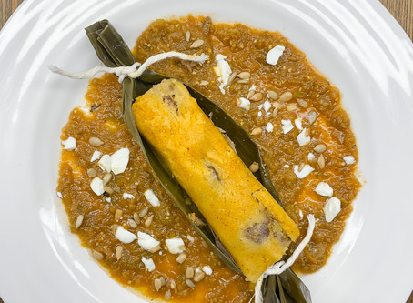 VENISON AND ROASTED ACORN SQUASH TAMALES w/ GUATEMALAN ADOBO