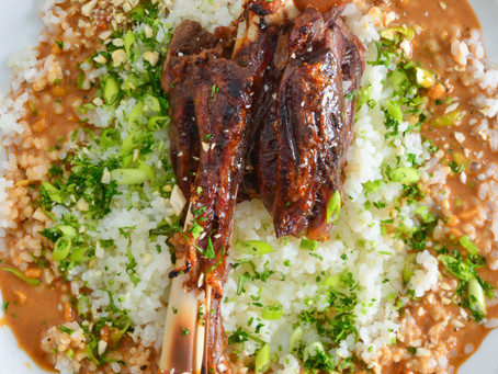 SIMMERED VENISON SHANKS WITH TOASTED PEANUT GRAVY