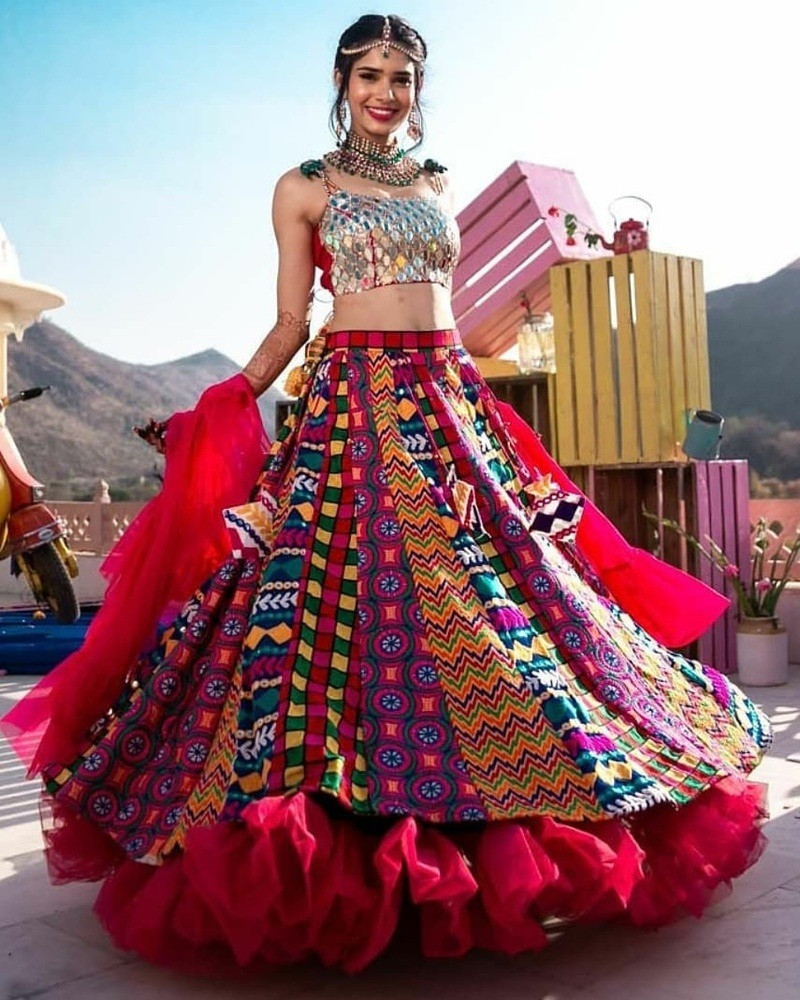 6. Multicolored tribal lehenga skirt paired with a jazzy choli