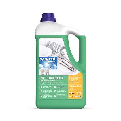Detergente piatti a mano Limone Verde Sanitec - 5 Kg