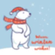 christmas-card-of-polar-bear-in-red-scar