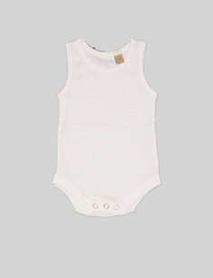 Sleeve-less body The white sleeveless body is the most basic item in theBjörkBox. Can be used as undergarment or on its own when the weather starts getting warmer. With popper fastening its easy to put on and take off