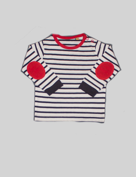 Striped long-sleeve t-shirt The striped t-shirt is great pattern to bring variety to theBjörkBox. The red elbow patch add a pop of color to the shirt and turn it from a simple t-shirt to a cute sweater.Can be paired with leggings or the pyjama trousers for a simple outfit.
