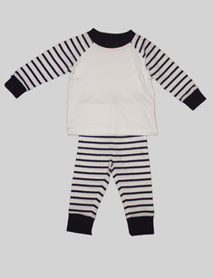 Pyjamas These striped pyjamas have elastic sleeves, waist and around the ankles so they easily stay on during the night. The torso is made of a breathablelight weight material so your baby is comfortable whilst they sleep. The trousers and top can also be used as a daily outfit paired with other items in theBjörkBox