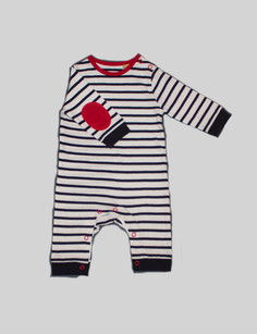Striped long sleeve onesie The striped onesie is amazingly soft with a special red patch on the elbow for a pop of color. With poppers on the inside leg and left shoulder its easy to put on and take off whilst keeping a perfect fit