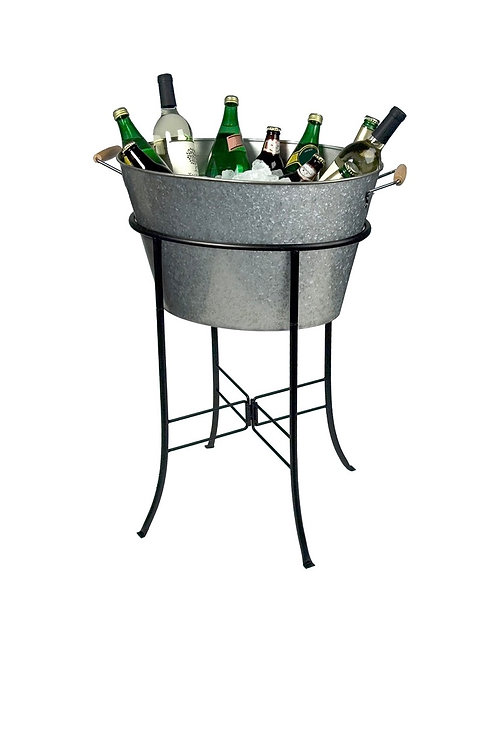 "27"" Galvanized Beverage Tub w/ Stand"