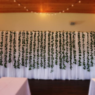78 panels of tulle; greenary garland; 30 ft of curtain twinkle lights with various speed settings