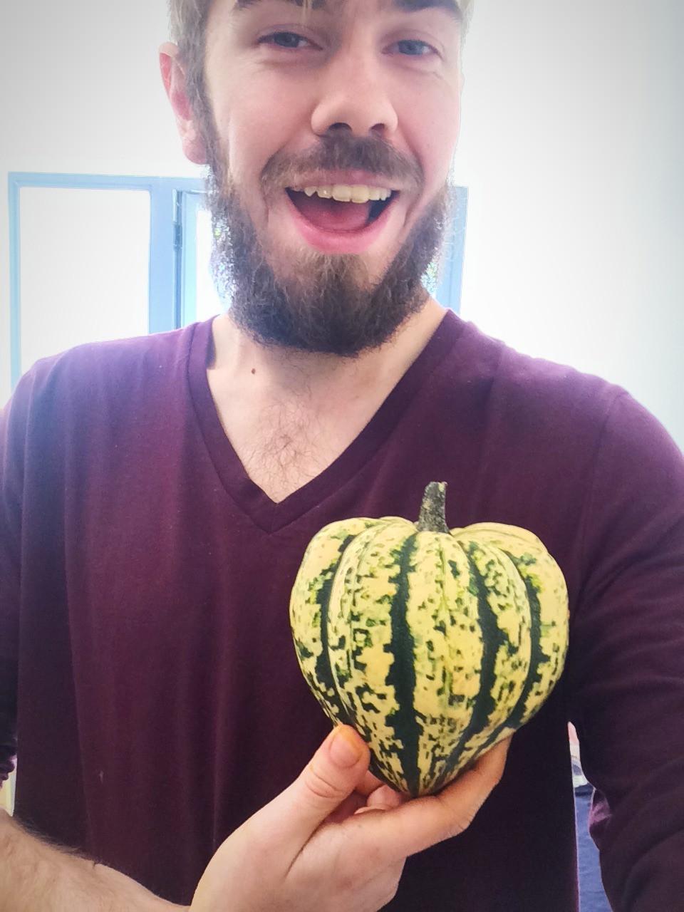 Jamie with a sweet dumpling squash heart | Pumpkin and Sweet Dumpling Squash Lasagna | Vegan and Gluten Free Recipe | The Dopey Vegan