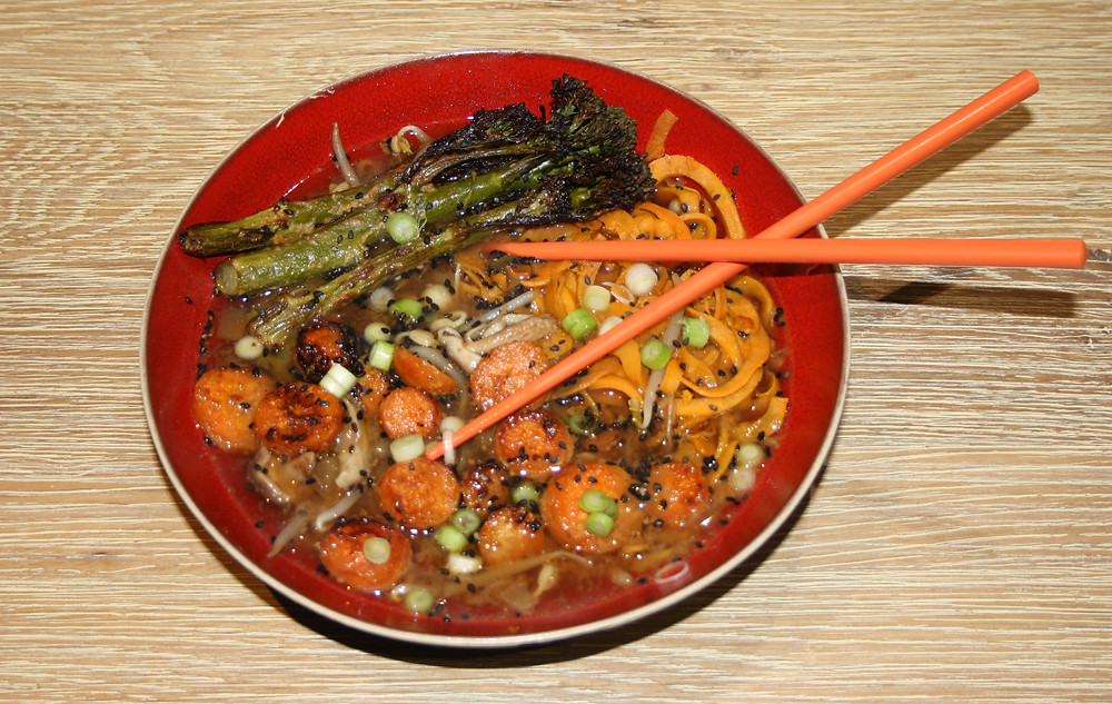 sweet potato noodles ramen with miso glazed broccoli and carrots with chopsticks | vegan, gluten free sweet potato noodle ramen recipe