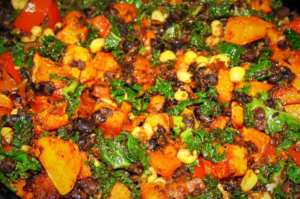 enchilada filling | butternut squash, black beans, kale, red pepper and sweet corns | vegan, gluten free enchilada recipe