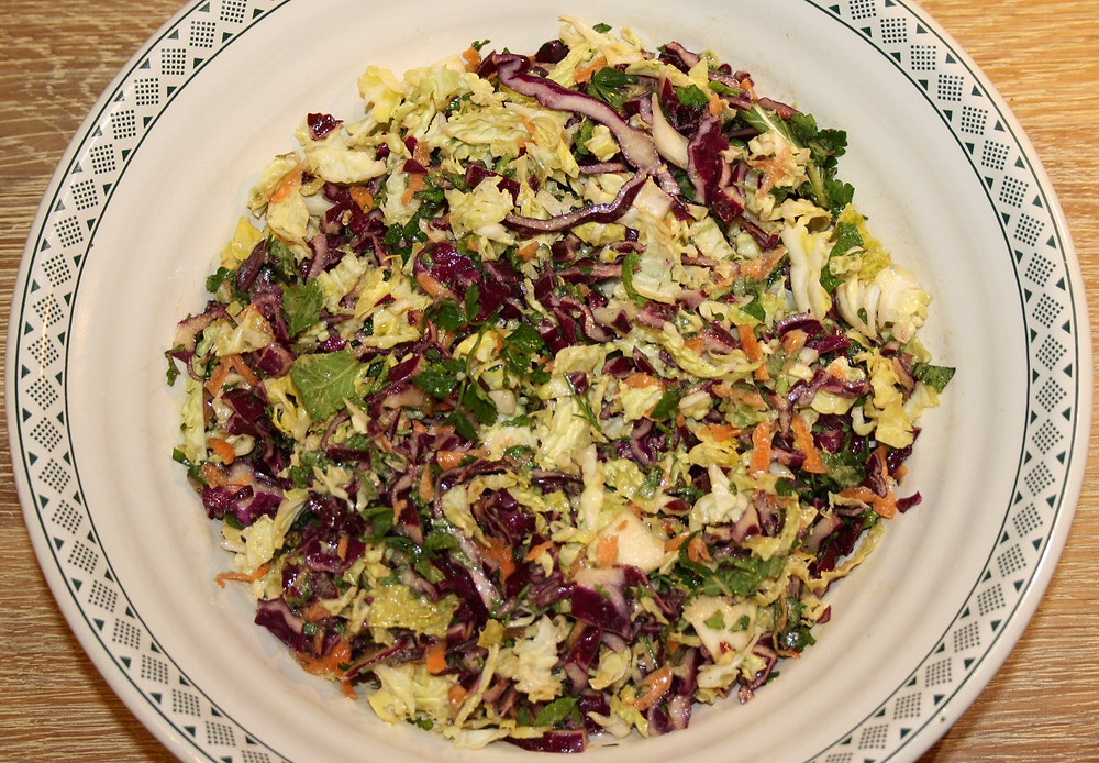 Slaw | Vegan and gluten free jerk cauliflower, with rice and peas and slaw recipe | The Dopey Vegan