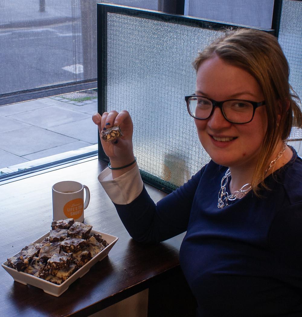 Sonia enjoying her tiffin | Christmas Tiffin | Vegan and gluten free recipe | Vegan Recipe | The Dopey Vegan