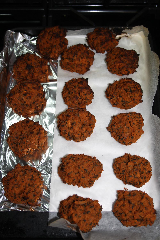 Falafels on tray cooked | Vegan, gluten free sweet potato harissa falafel recipe | The Dopey Vegan