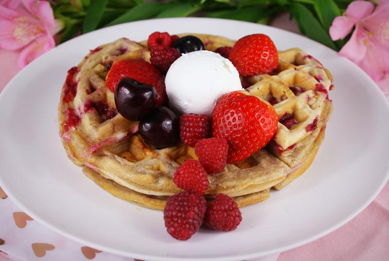 Valentine's Raspberry Waffles