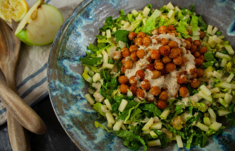 Chickpea and Apple Cesar Salad