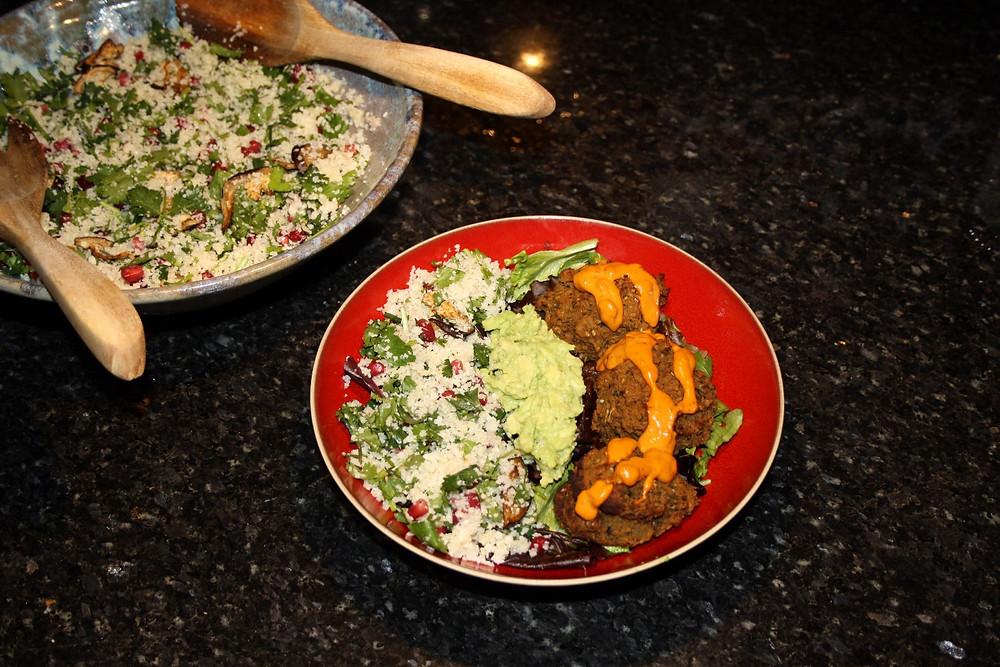 Vegan, gluten free sweet potato harissa falafel with cauliflower rice recipe | The Dopey Vegan