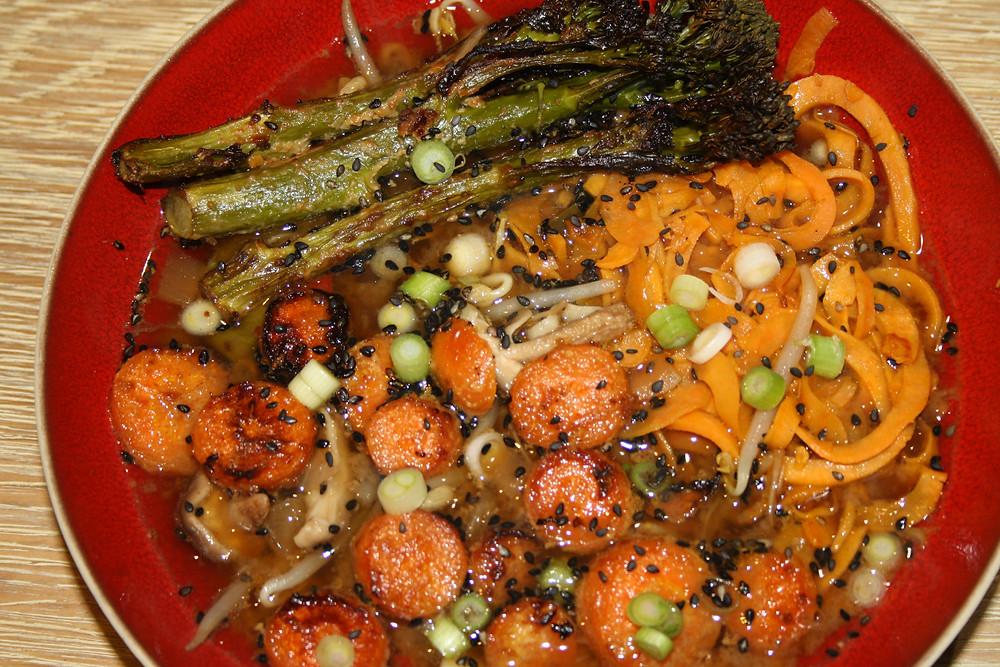 sweet potato noodles ramen with miso glazed broccoli and carrots | vegan, gluten free sweet potato noodle ramen recipe