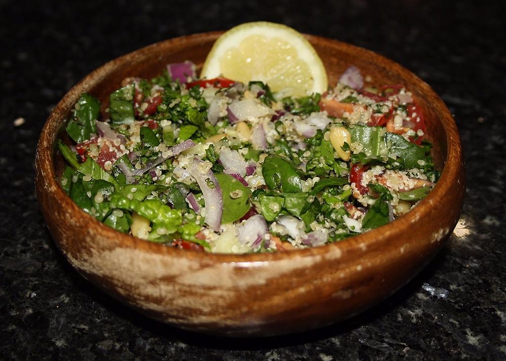 Depression Defying Hemp, Spinach and Pine Nut Tabbouleh Recipe | Vegan and gluten free recipes | The Dopey Vegan