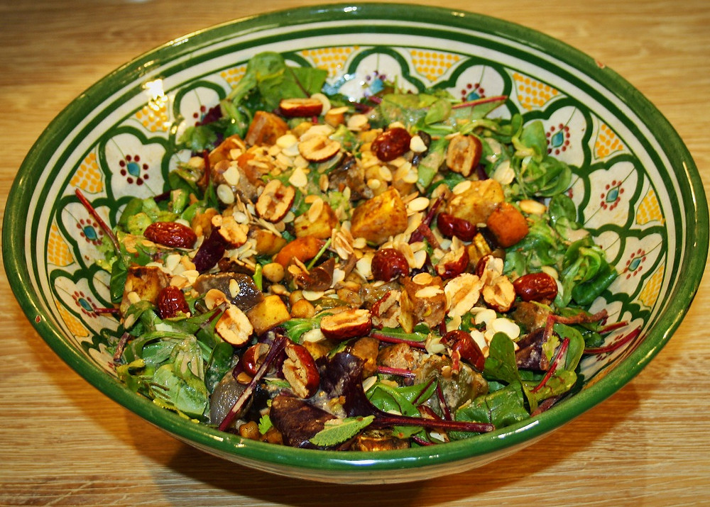 Jujube fruit, chickpea and spicy roast vegetable salad gluten free and vegan recipe | The Dopey Vegan