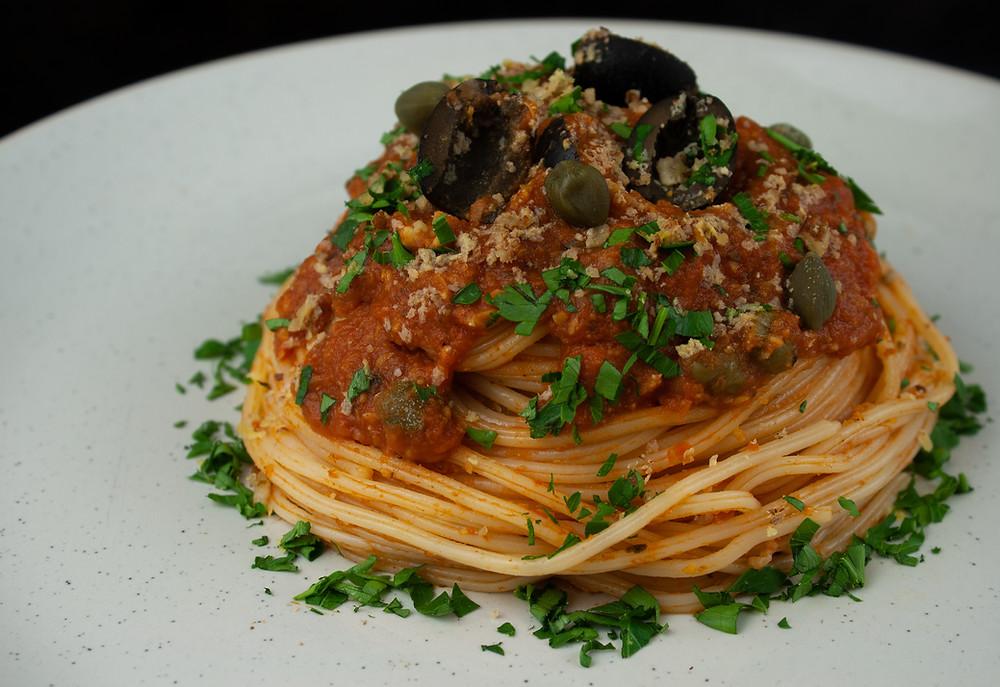 Vegan Spaghetti alla Puttanesca | Vegan and Gluten Free Recipe | The Dopey Vegan
