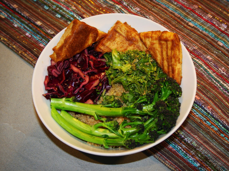 My First Glow Bowl - Tofu, Massaged Kale, Red Cabbage, Purple Sprouted Broccoli and Quinoa
