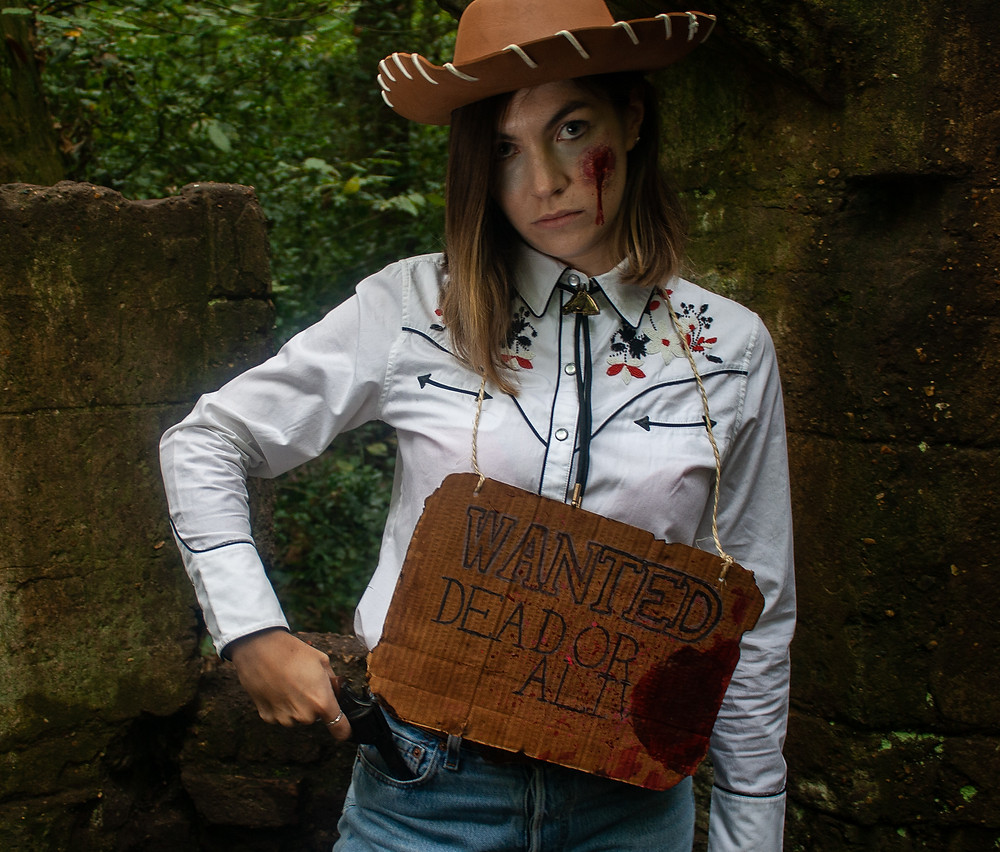 | Dead Cowgirl | Ethical Halloween | Ethical and sustainable fashion | Ethical and sustainable fancy dress | The Dopey vegan x The Revival Collective