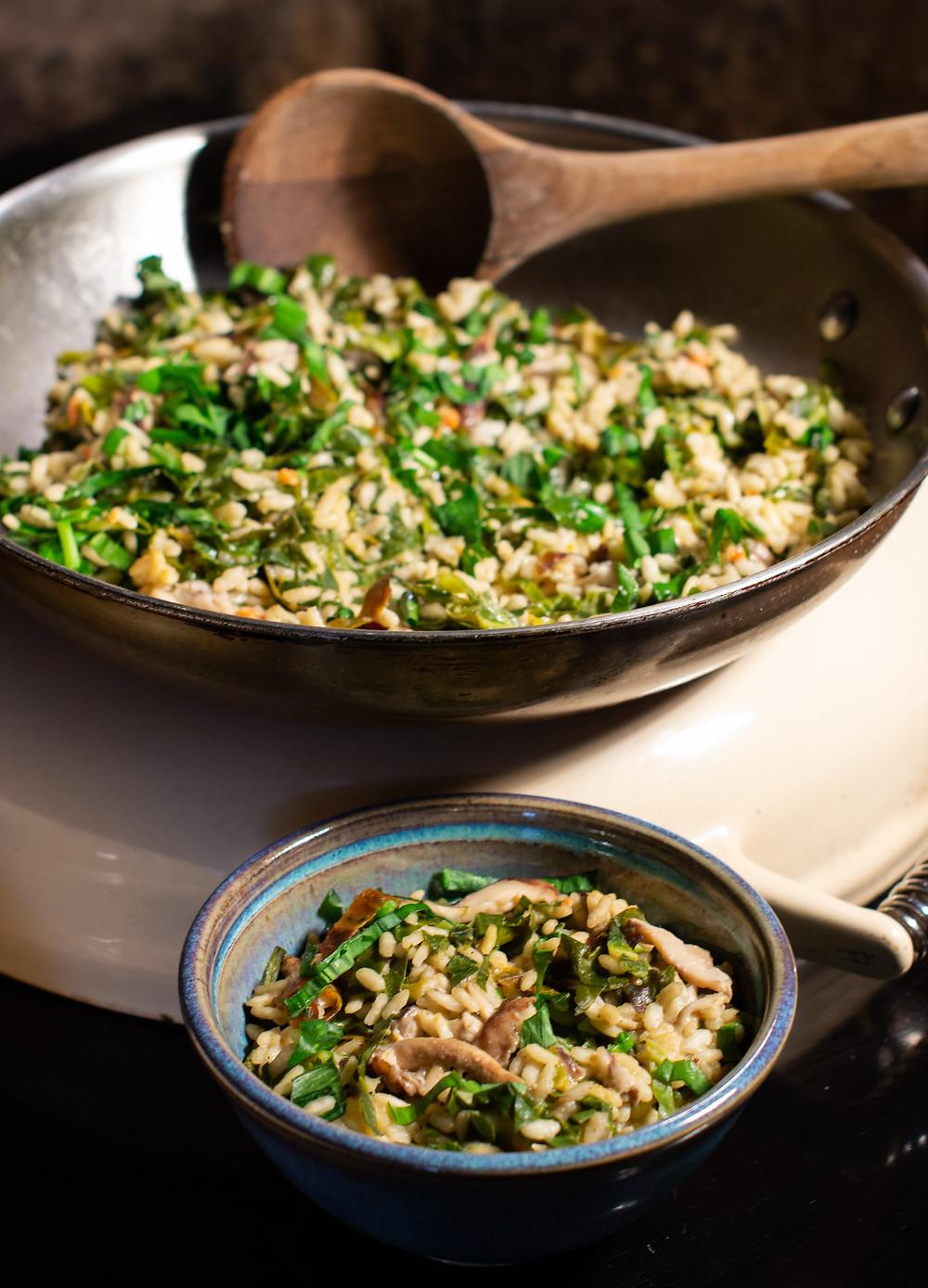 | Spring Green, Shiitake Mushroom and Wild Garlic Risotto | Vegan and gluten free recipe | The Dopey Vegan