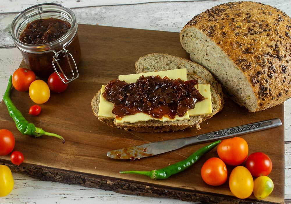 Tomato Chutney on a  vegan cheese sandwich | Tomato Chutney | Vegan and gluten free recipe | Grow your own | The Dopey Vegan