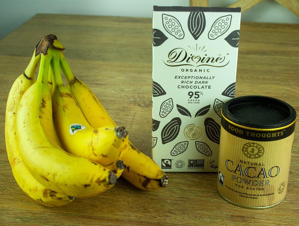 Fairtrade Ingredients: Bananas, Dark chocolate and Cacao |  | Fairtrade Fortnight: Chocolate and Raspberry Banana Split | Vegan and gluten free Recipe | The Dopey Vegan