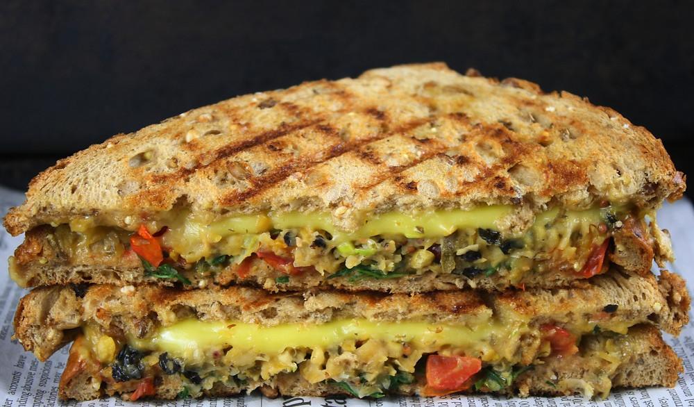 Chickpea Choona Melt | Vegan cheese toastie | Vegan and gluten free recipe | The Dopey Vegan