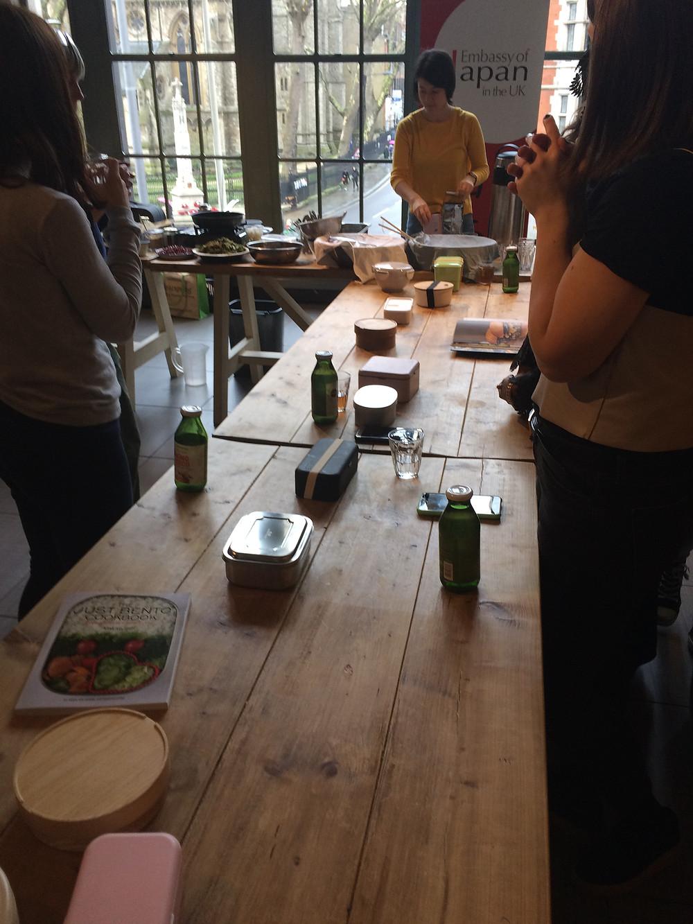 Bento box bench at Whole Foods Market Kensington | Bento Brunch Workshop + my own Bento Box | Vegan and gluten free recipe | The Dopey Vegan