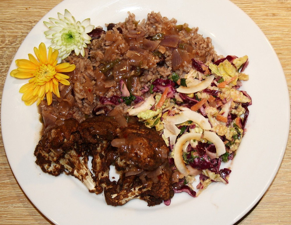 Vegan and gluten free jerk cauliflower, with rice and peas and slaw recipe | The Dopey Vegan
