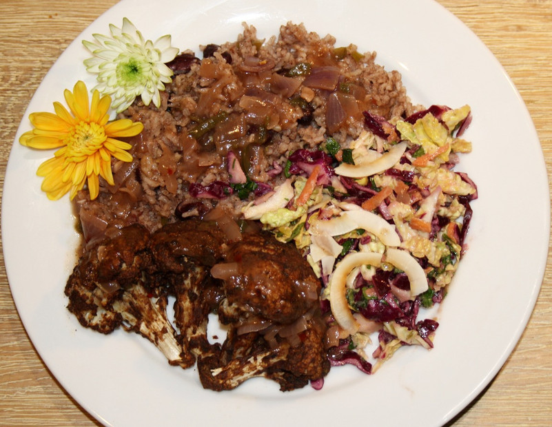 Jerk Cauliflower with Rice and Peas, Jerk Gravy and Slaw