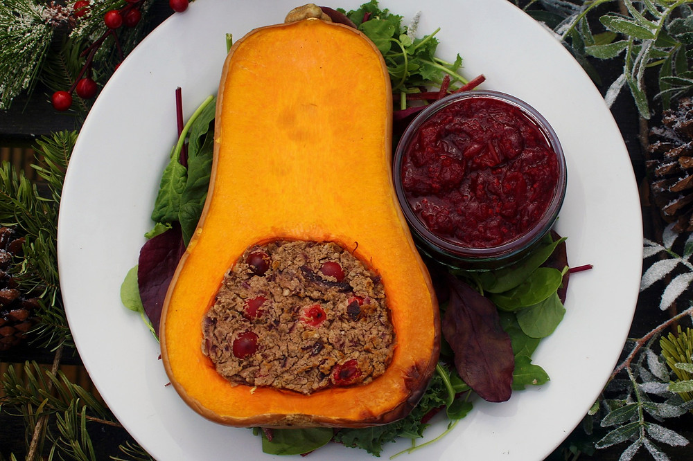 | Butternut Squash stuffed with Cannellini Beans, Chestnuts, and Cranberries | Cranberry sauce | Vegan and gluten free recipe | Vegan Christmas recipe | The Dopey Vegan