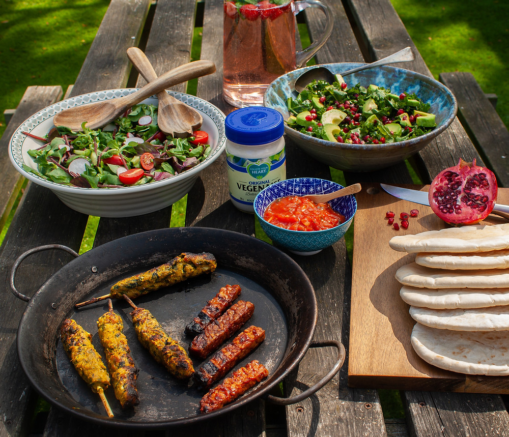 Full table spread | The cooked vegan kebabs and ribs  | BBQ | Vegan BBQ | The Meat-Free Butchers by Sainsbury's | Meat-Free Options | Vegan Butchers | Vegan Meat | The Dopey Vegan