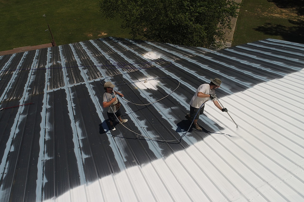 Picture of Roofers doing Roof Coating