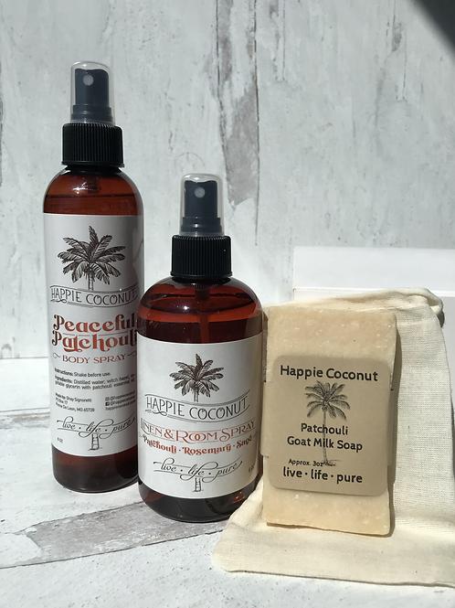 Patchouli Gift Set  - Patchouli Soap - Patchouli Linen Spray And Body Spray