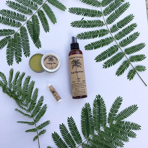 Outdoor Essential Pack Bug Repellent Spray, Comfrey Salve Tin, Rosehip Comfrey L