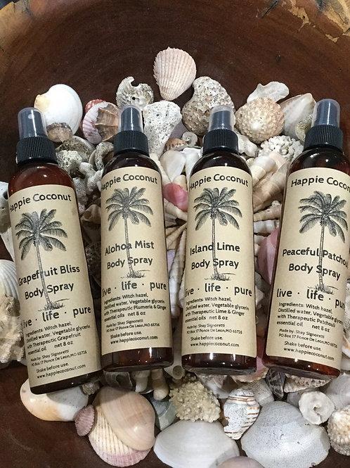 4 pack Natural Body Sprays Aloha Mist, Island Lime, Peaceful Patchouli, Grapefru