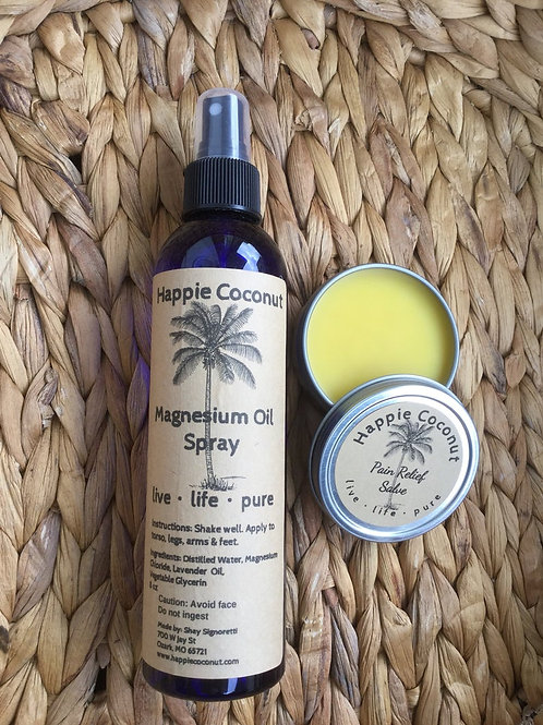 Magnesium Oil Spray and Pain Relief Salve Package