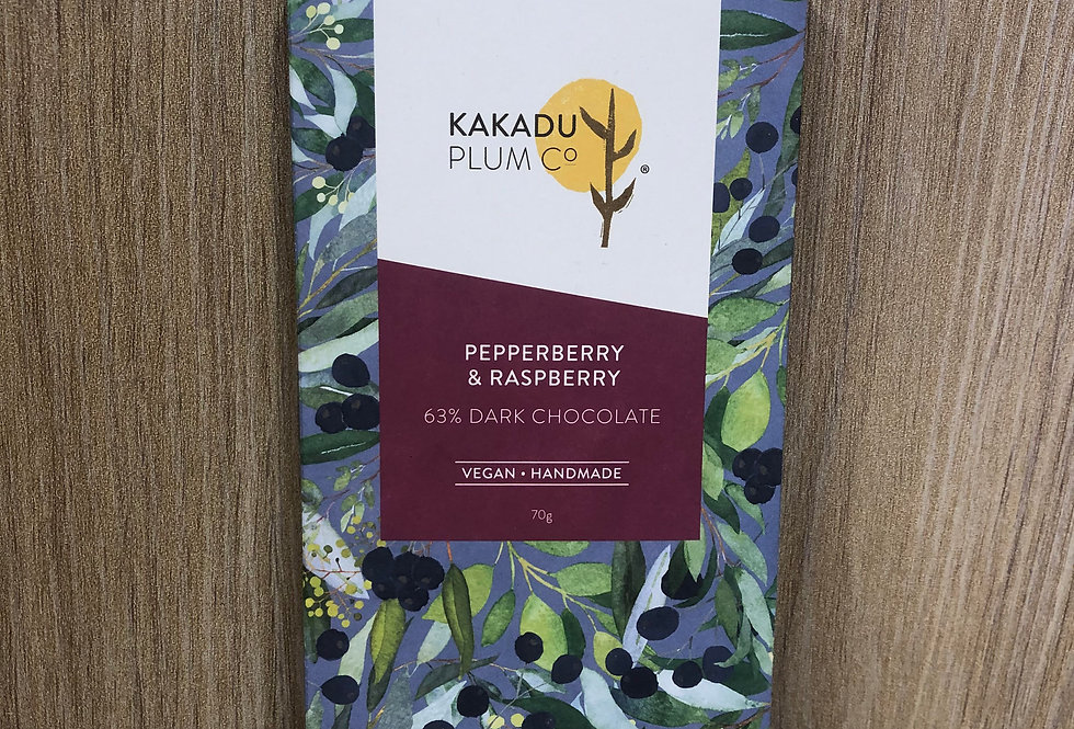 KAKADU PLUM - Pepperberry & Raspberry Chocolate - Dark  70g
