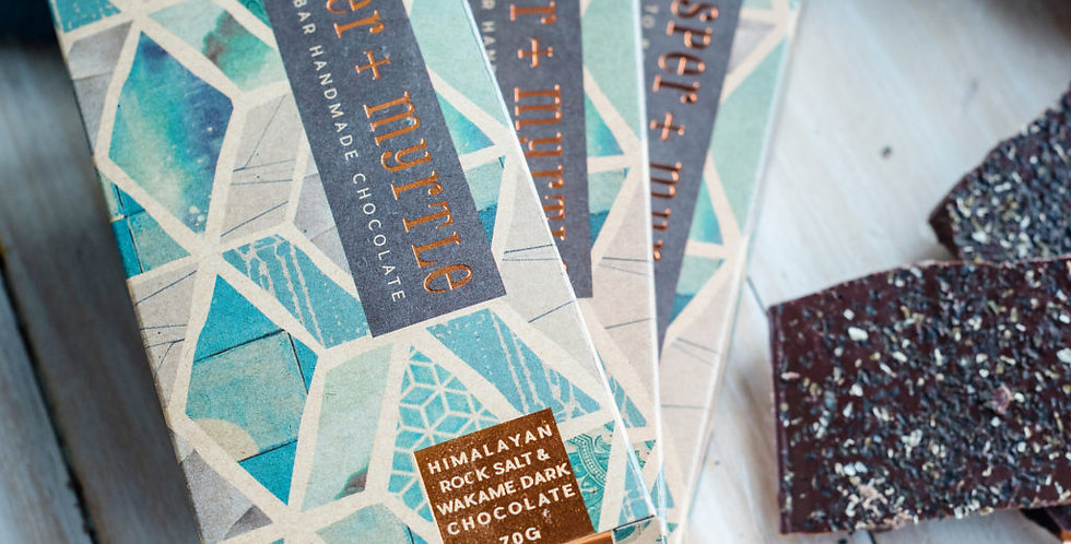JASPER + MYRTLE - Himalayan Rock Salt & Wakame Dark Chocolate 100g