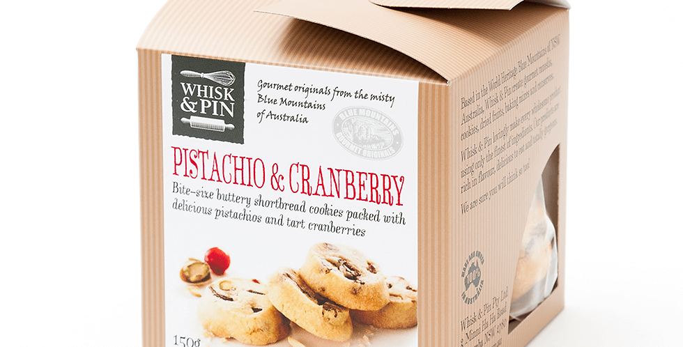 WHISK & PIN - Pistachio & Cranberry Shortbread Biscuits 150g