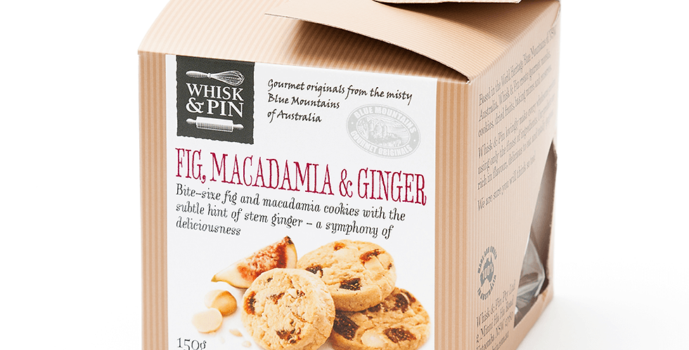 WHISK & PIN - Fig, Macadamia & Ginger Biscuits 150g