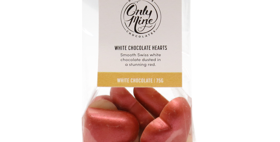 ONLY MINE - White Chocolate Hearts 75g