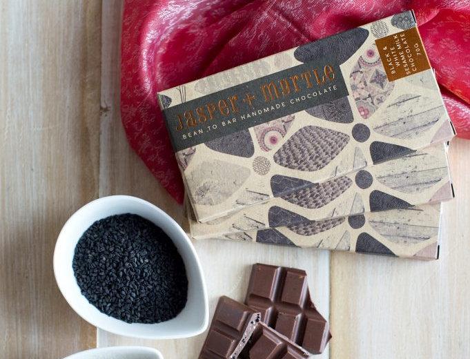 JASPER + MYRTLE - Black & White Sesame Milk Chocolate 100g