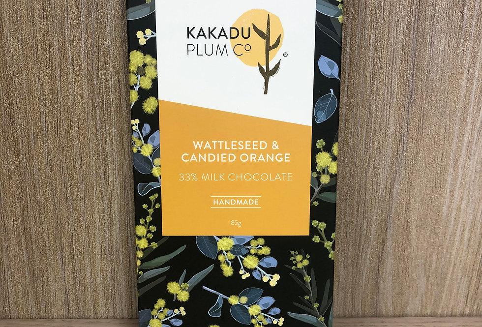 KAKADU PLUM - Wattleseed & Candied Orange - milk 85g