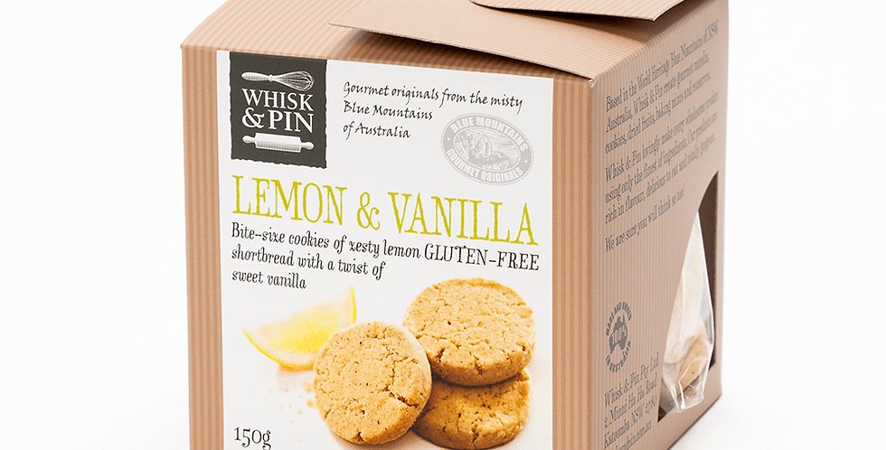 WHISK & PIN - Lemon Vanilla Shortbread Biscuits 150g
