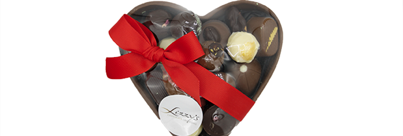 LIZZY'S CREATIONS - Large Chocolate Heart Filled with handpieces