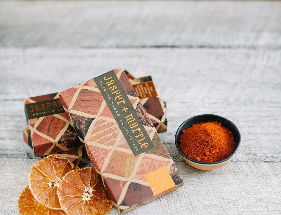 JASPER + MYRTLE - Orange Cinnamon and Cayenne Dark Chocolate 100g